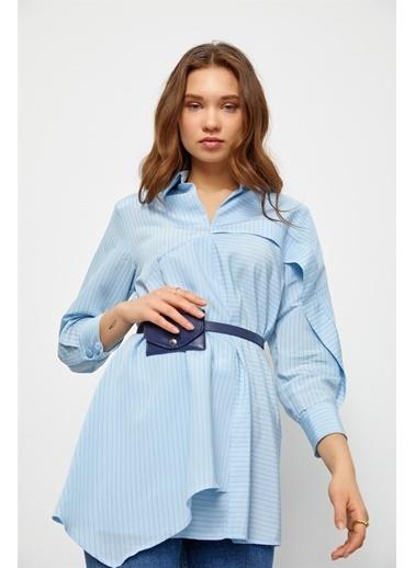 Setre Mavi Kemerli Gömlek Tunik Mavi